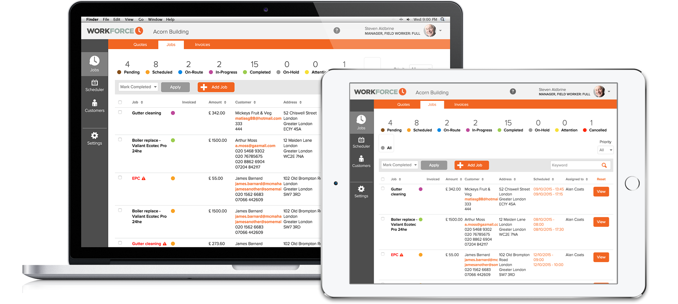 Job management on any device - workforce field service management software