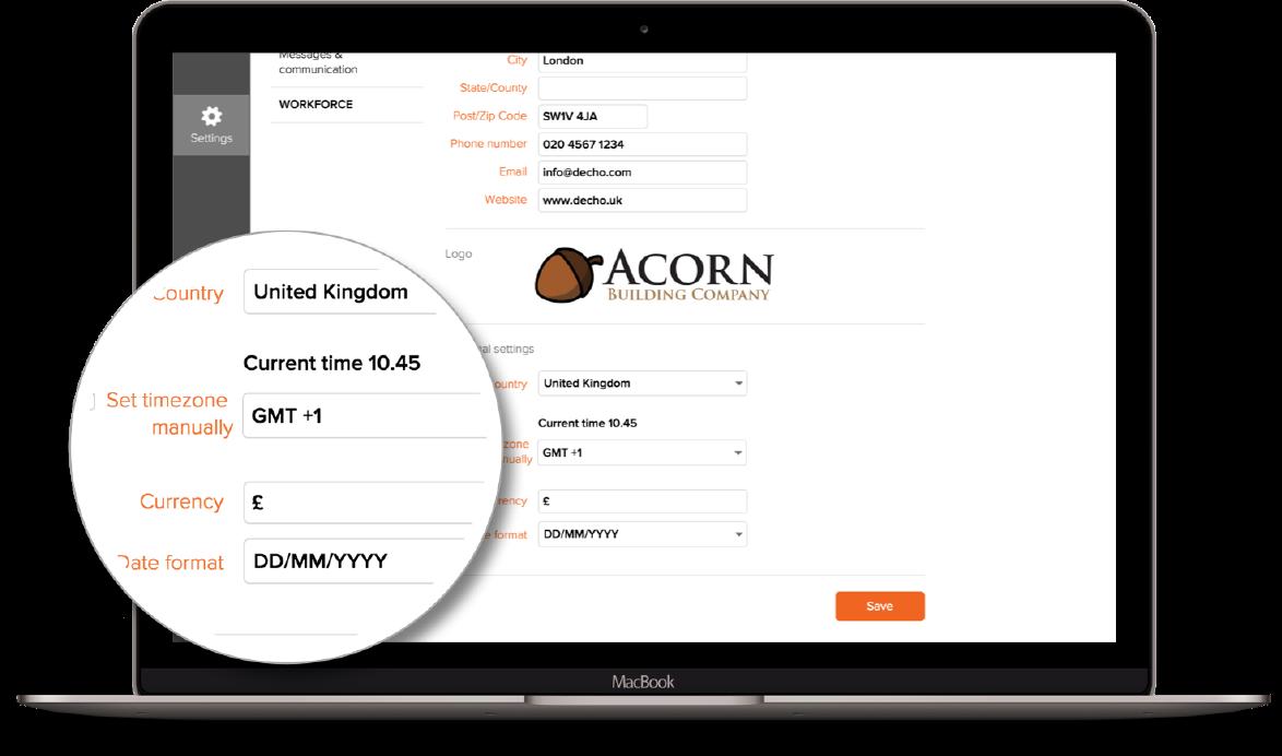 Custom settings - Workforce.FM Field service management software