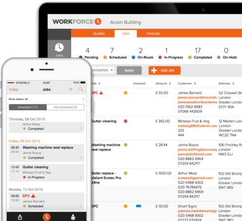 Field service management software - example screen - Workforce.FM