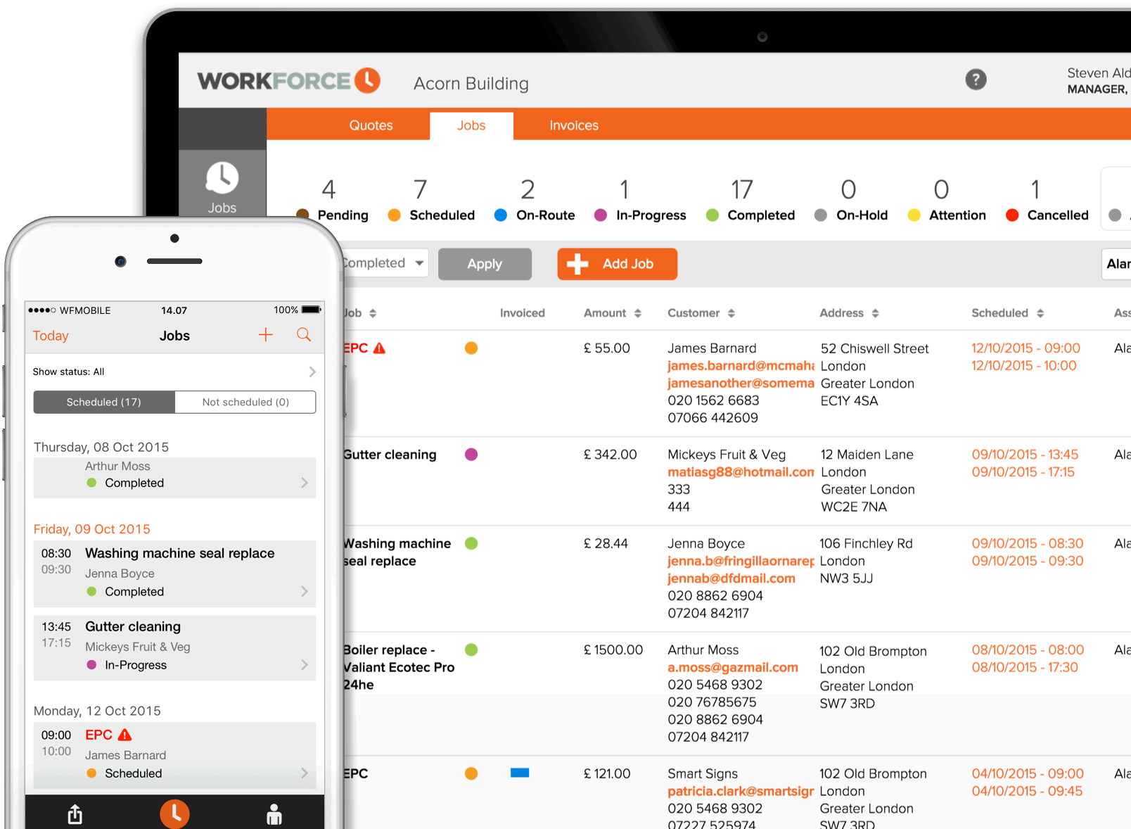 Workforce Field service management software - example screen